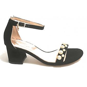 Women's Shoes Sandalwood Gold&gold In Ecopelle Suede/ Black Pearls Tc 50 Ds18gg11
