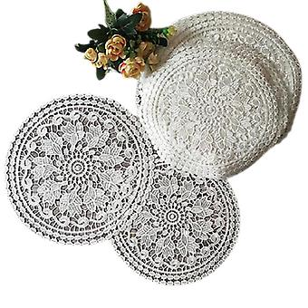 Round Lace Water Soluble Embroidery Place Table Mat Cloth Pad