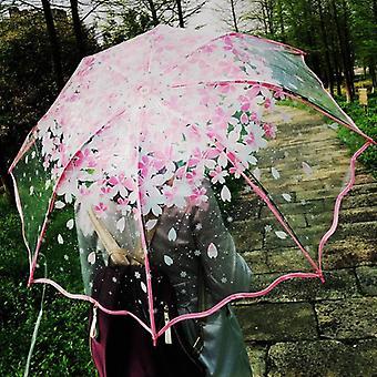 Thickening Transparent Three Fold Rain Umbrella