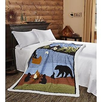 Spura Home Pictorial Bear Lake Quilted Contemporay Sherpa Throw