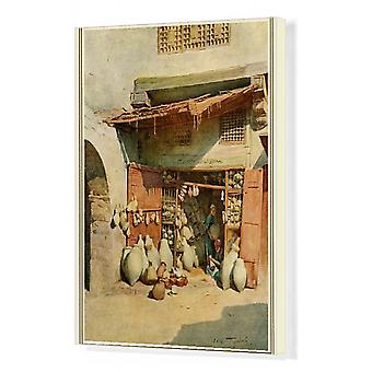 Egyptian Pottery Shop. Box Canvas Print. A pottery shop in an Egyptian village Date: 1912.