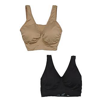 Rhonda Shear Women's 2XL Reg 2-pack Seamless Leisure Bra Black 743410