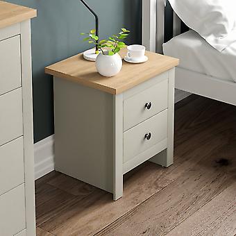 Arlington 2 Drawer Bedside Chest Cabinet Shaker Style, Grey & Oak