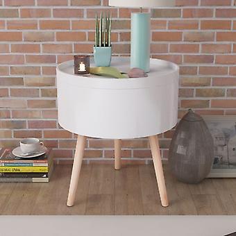 mesa lateral vidaXL com bandeja de serviço redonda 39,5x44,5 cm branco