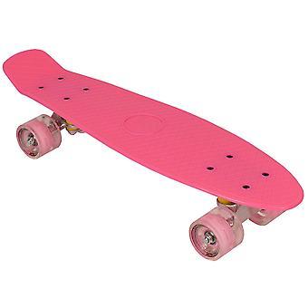 Skateboard roze kunststof  - 22 inch - LED-wielen