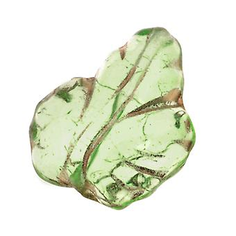 الخرز الزجاجي التشيكي 13 × 15 مم ليف بيريدوت الأخضر مع الذهب (10)