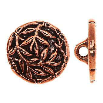 TierraCast Zinn, runder Knopf Bambus 16,5mm, 1 Stück, antikes Kupfer
