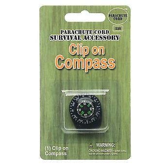 Paracord-lisävaruste, laskuvarjojohtopidike kompassilla 25,5x30,5mm, 1 kpl, Musta