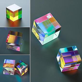 Sekssidet prisme stærkt lys Kombiner Cube Prism farvet glasstråle opdeling Prisme optisk eksperiment instrument
