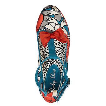 Ruby Shoo Kiara Teal Blommig HögKlack HögSkuren T-Bar med Bow & Matching Alberta Bag