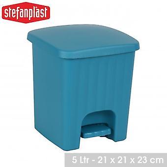 Salle de bain carrée Cuisine Pedal Bin 5L Turquoise