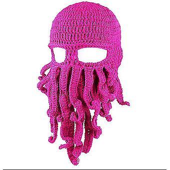 Ružová červená chobotnica klobúk legrační maskované ručne vyrábané háčkované vlnené teplý klobúk az9442