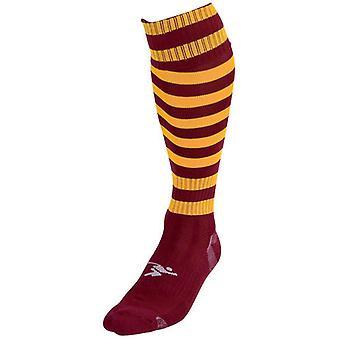 Precision Hooped Pro Football Socks Maroon/Amber - UK Size J12-2