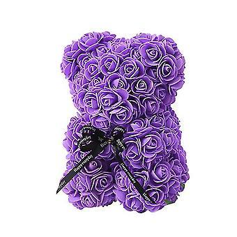 Valentinstag Geschenk 25 cm Rose Bär Geburtstagsgeschenk£¬ Memory Day Geschenk Teddybär (Lila)