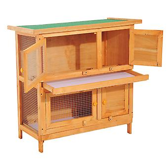 PawHut 2-Tier Double Decker Wooden Rabbit Hutch Pet Cage Guinea Pig Hutch with Sliding Tray Opening Top