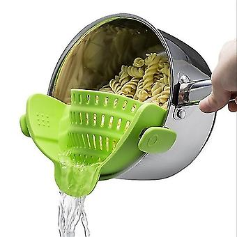 Universal Silicone Clip-on Pot Strainer Colanders(Green)