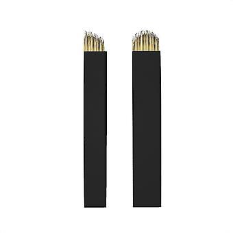 Microblading nåler | Svart -gull | Kurvefleksi og U-form - 18U / 50