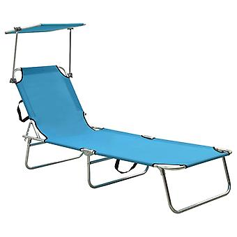 vidaXL divano pieghevole con crema solare in alluminio blu