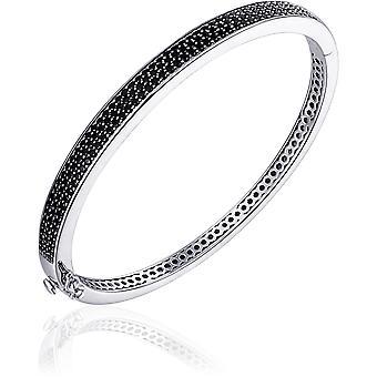 Gisser Jewels - Bracelet - Bangle Flat set avec Zircone Noire - 6mm De Large - Taille 60 - Gerhodineerd Zilver 925