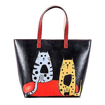 Biggdesign Cats Faux Leather Cat Tote Sac à bandoulière pour femmes, sacs à main de créateurs avec une grande capacité pour voyager, travailler ou la vie quotidienne (grand, couleur noire avec design de chats mignons)