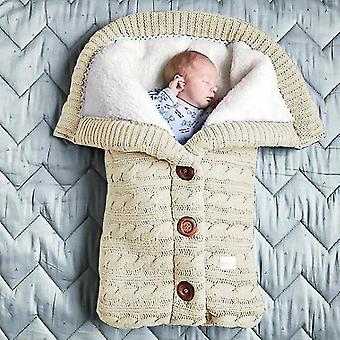 Newborn Baby Winter Warm Sleeping Bag Baby Button Knitted Swaddle Wrap Baby Stroller Wrapped Toddler Blanket Sleeping Bag