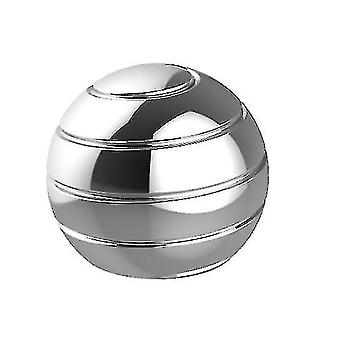 Fully Disassembled Rotating Desktop Ball Transfer Top Fingertip Decompression Toy(SILVER)