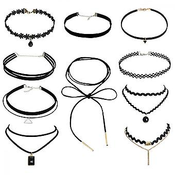 Juego de gargantilla, 10pcsclassic Velvet Stretch Gothic Tattoo Lace Necklace (negro)