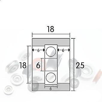 6 * 25 * 18mm F סוג גלגל מטוס / גלגל כדור גלגלת