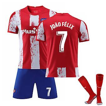 Joao Felix #7 Jersey Home 2021-2022 Ny säsong Atletico Madrid Fotboll T-Shirts Jersey Set för barnungdomar