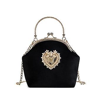 Design Handbag Women Tote Bag High Quality Chain Crossbody Bag Ladies Evening Package(Black)