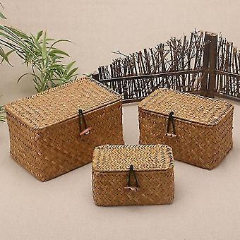 Baskets eco friendly rattan weave sundries storage box with lid l