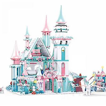 1314szt Snow World Series Magical Ice Castle Set Girls Building Blocks Bricks Zabawki Girl Friend For