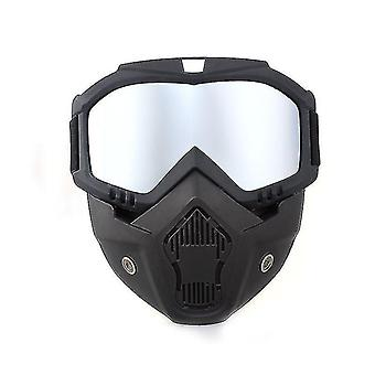 Motorradhelm mit abnehmbarer Gesichtsmaske (Silber)
