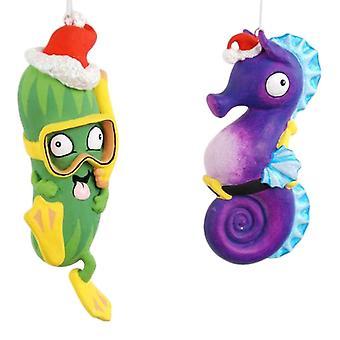 Coastal hippocampe violet et vert plongée mer concombre Noël ornement Set de 2