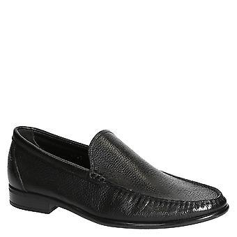 Svart full korn skinn loafers for menn håndlaget