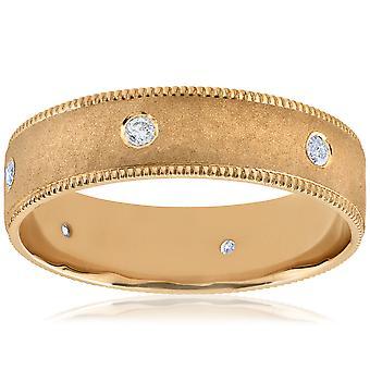 Mens 14K Yellow 6mm Diamond Brushed Hammered Wedding Ring