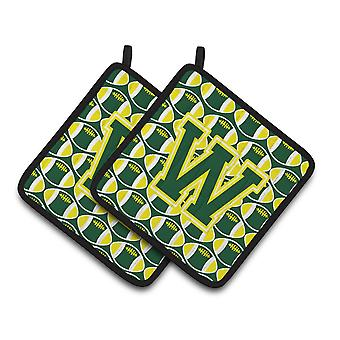 Letter W Football Green and Yellow Pair of Pot Holders