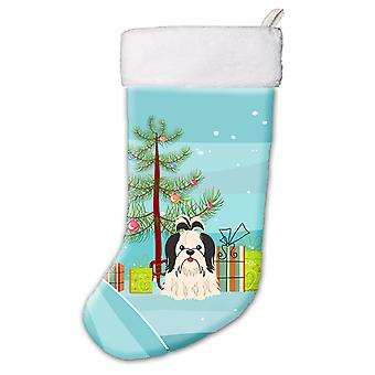 Merry Christmas Tree Shih Tzu Black White Christmas Stocking