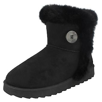 Ladies Spot On Fur Trim/Lined Ankle Boots F4407