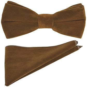 Luxury Gingerbread Brown Velvet Bow Tie & Pocket Square Set