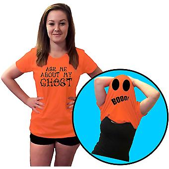 Ask Me About My Ghost Halloween Flip Over Womens T-Shirt 8 Colours by swagwear