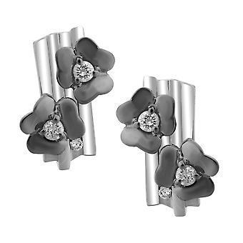 Orphelia plata 925 pendiente flor negro ZO-6039/2