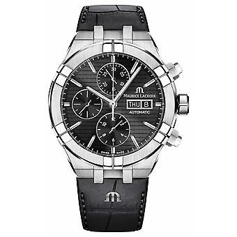 Maurice Lacroix Aikon Automatic Chronograph Black Leather Strap AI6038-SS001-330-1 Watch