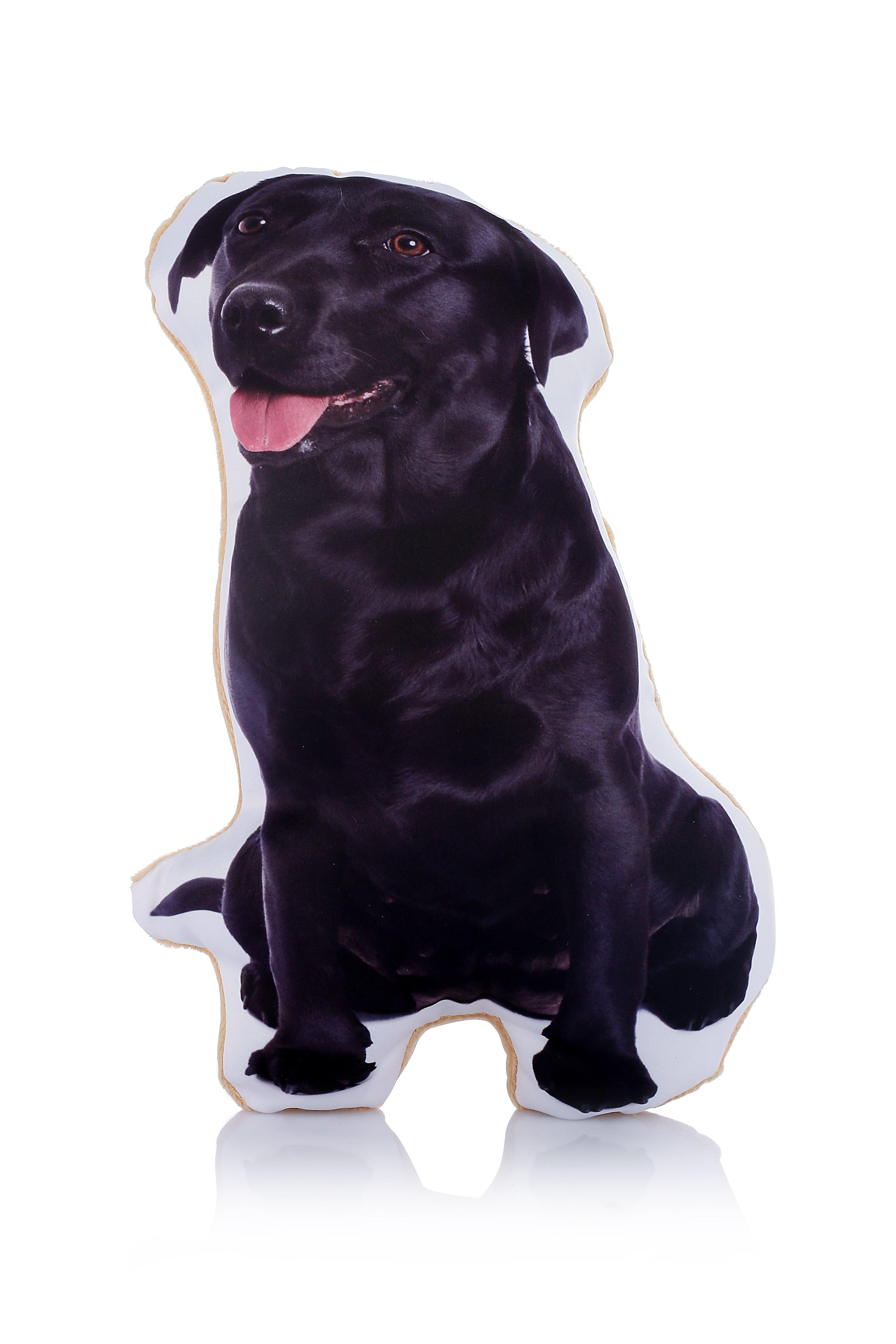 Adorable black labrador shaped midi cushion