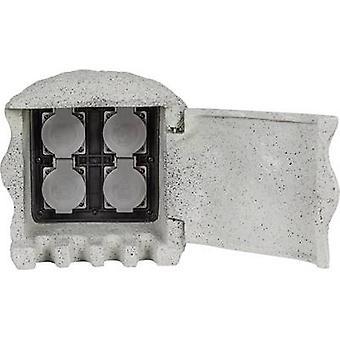 Heitronic 37505 Weatherproof socket strip 4x Grey Stone look