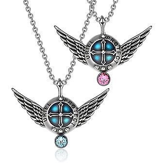 天使の翼大天使ウリエル愛カップルや親友設定シールドお守りペンダント ネックレス