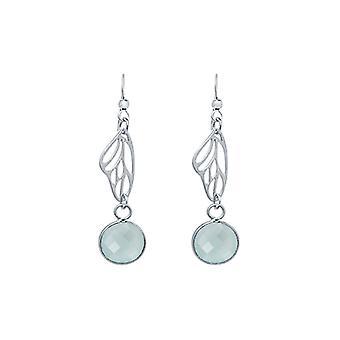 Gemshine Ohrringe 925 Silber Schmetterling Flügel Chalcedon Meeresgrün