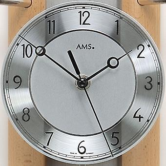 AMS wall clock 5258/18 radio with suspended solid back wall wood beech, aluminium