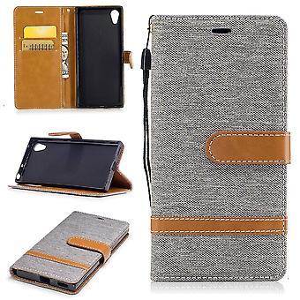 Tasche für Sony Xperia XA1 Jeans Cover Handy Schutz Hülle Case Grau