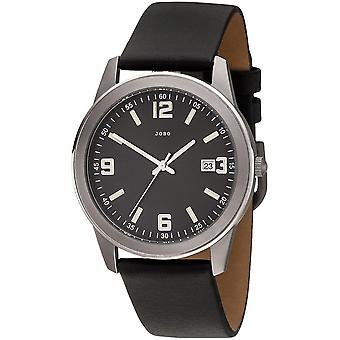 JOBO мужчины наручные часы кварцевые аналоговые титана кожи ремешок черный Мужские часы с датой